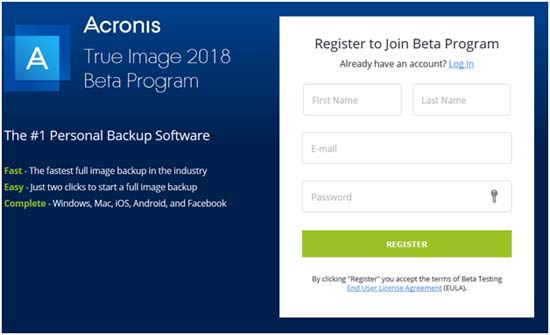 Acronis True Image 2018 upgrade