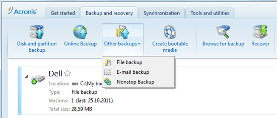 acronis true image 2013 backup options