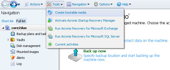 Acronis Backup and Recovery 11.5 Server for Linux interface