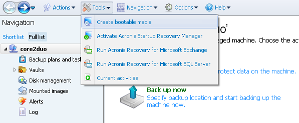 Acronis Backup and Recovery 11.5 Server for Windows navigation