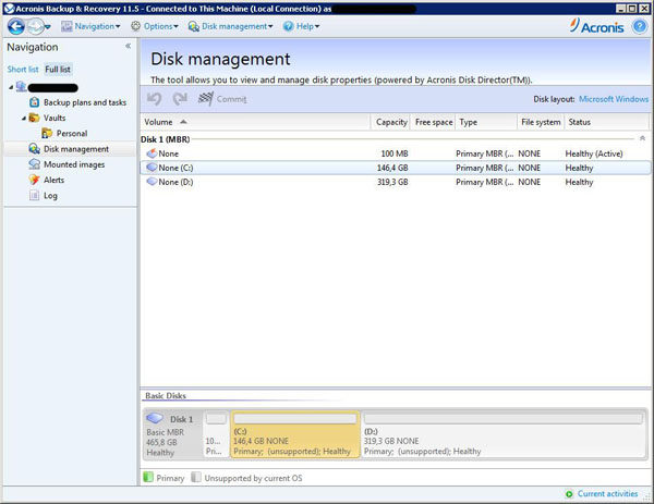 Acronis Backup and Recovery 11.5 Advanced Workstation interface