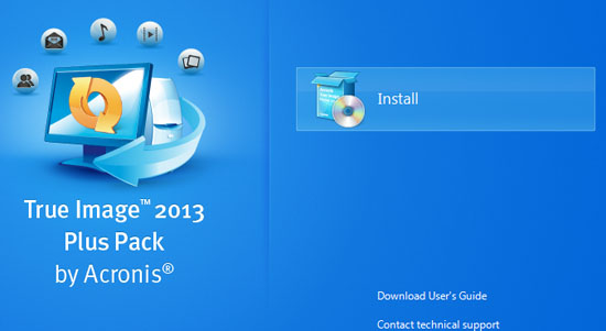 Acronis True Image 2013 Plus Pack installation