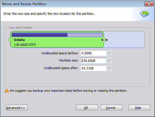 Resize and Move Partitions