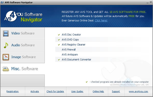 AVS4YOU unlimited edition software navigator