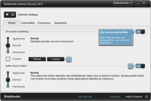 Bitdefender Internet Security 2013 antivirus settings