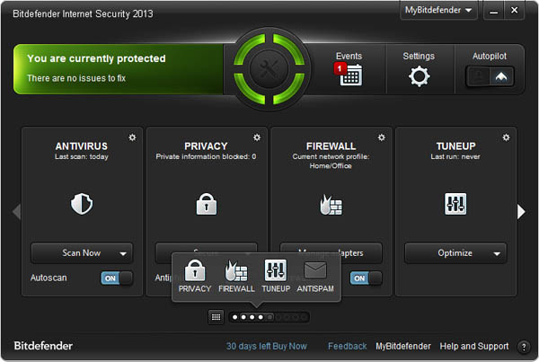 Bitdefender Internet Security 2013 interface