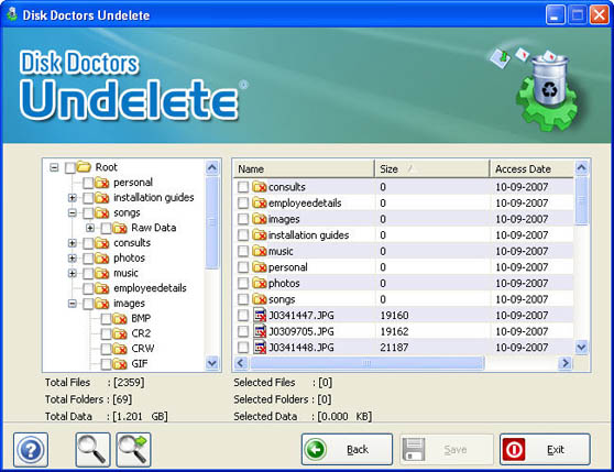 Disk Doctors Undelete interface
