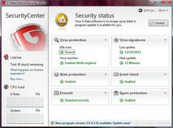 G-Data Internet Security 2013 interface