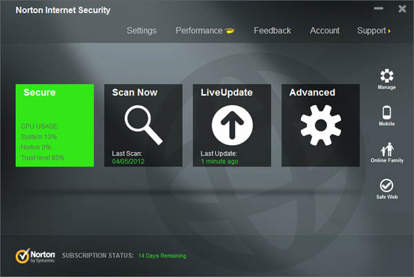 Norton Internet Security 2013 interface