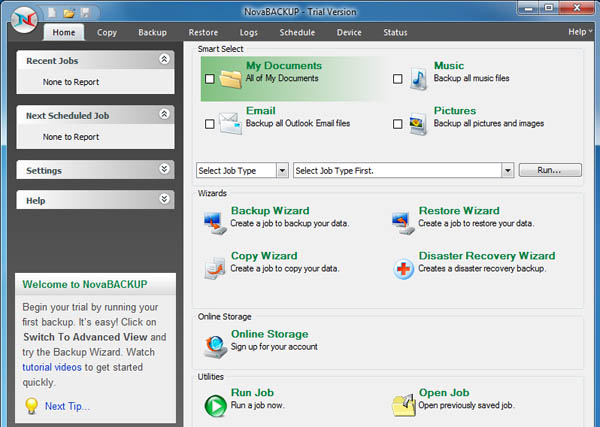 Novabackup Professional Interface