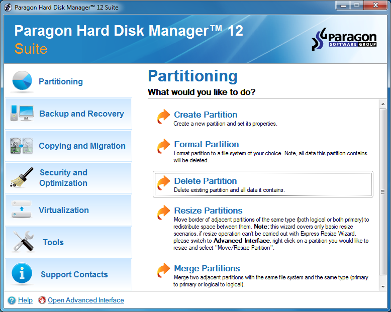 Paragon Hard Disk Manager 12 interface