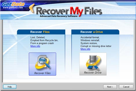 Recover My Files Data Recovery interface