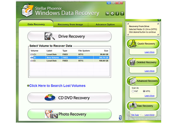 Stellar Phoenix Windows Data Recovery 6 interface